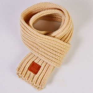Children's Solid Beige Soft Kitted Scarf Wrap